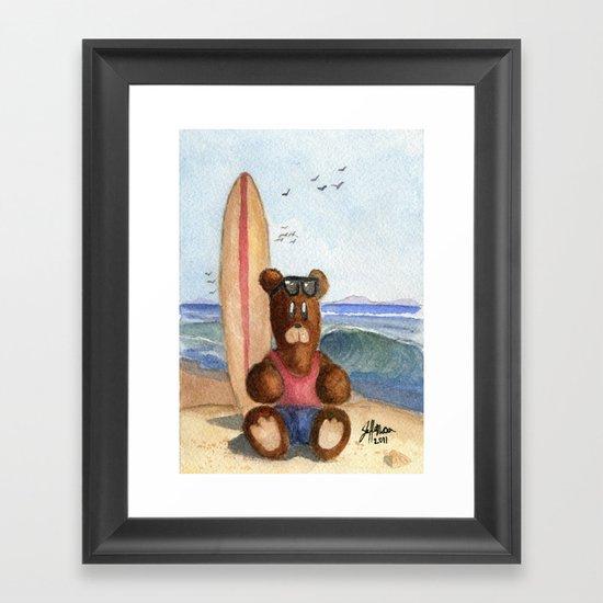 Surfer Bear Framed Art Print