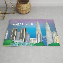 Kuala Lumpur, Malaysia - Skyline Illustration by Loose Petals Rug