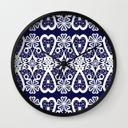 Retro . Lace blue white pattern . White lace on blue background . Wall Clock