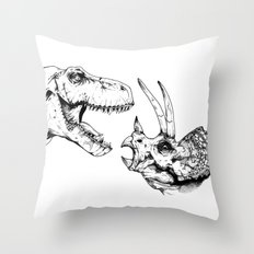 T-Rex Vs Triceratops Throw Pillow