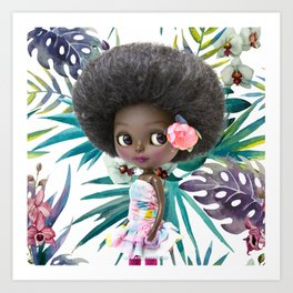 TROPICAL SUMMER ERREGIRODOLLS AFRO Art Print