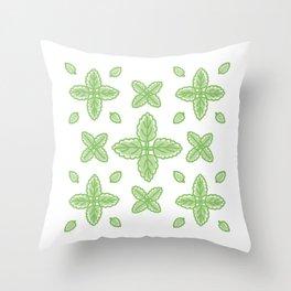 Scalloped Leaves Illustration Throw Pillow