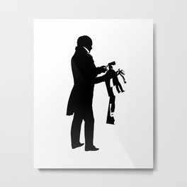 The Papercutter Silhouette Print Black and White Scissors Metal Print