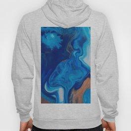 Fluid Nature - Blue Smoke - ABstract Acylic Pour Art Hoody