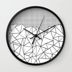 Abstract Outline Grid Black on White Wall Clock