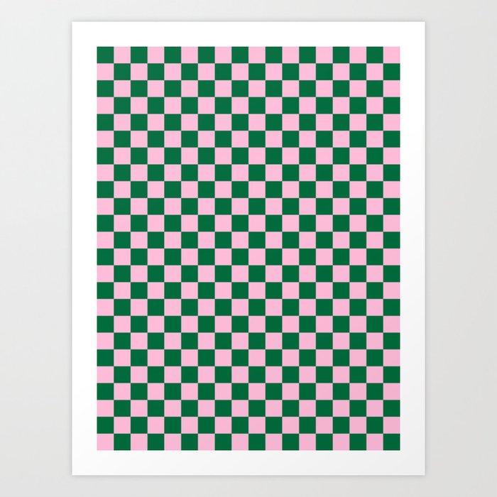 Cotton Candy Pink and Cadmium Green Checkerboard Kunstdrucke