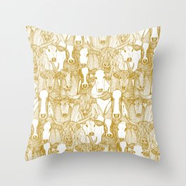 just cattle gold white Throw Pillow
