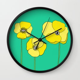 Bright Yellow and Mint Green Poppies Growing and Thriving Wall Clock