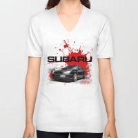 subaru V-neck T-shirts featuring Cars: Subaru WRX STI by Urbex :: Siam