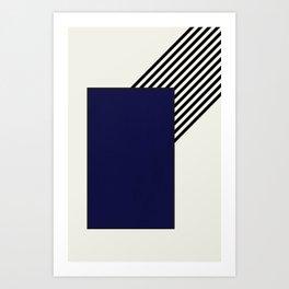 Blue with stripes Art Print