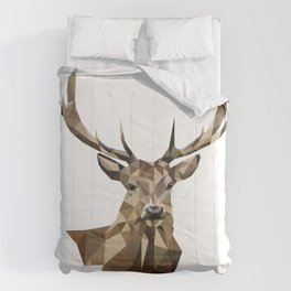 Geometric deer Woodland art Forest animals Brown and gray Comforters