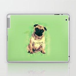 Cute Pug dog on gentle green Laptop & iPad Skin