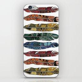boho rainbow feathers iPhone Skin