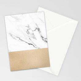 White Marble with Black and Copper Bronze Stationery Cards