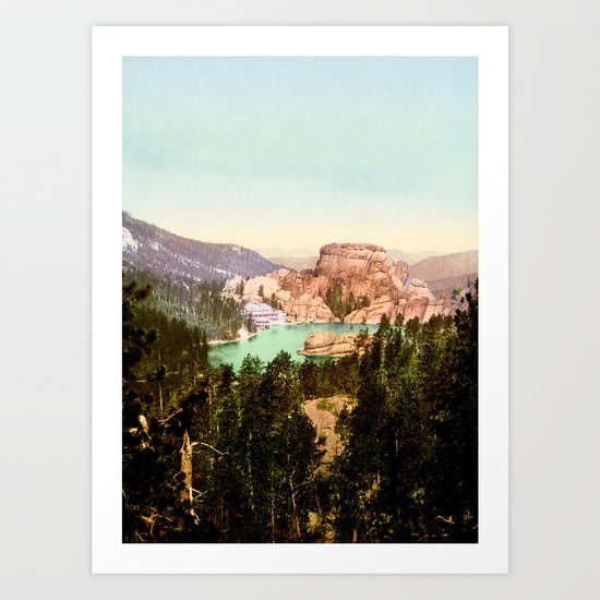 Forest mountains Lake Vintage Scenery Art Print