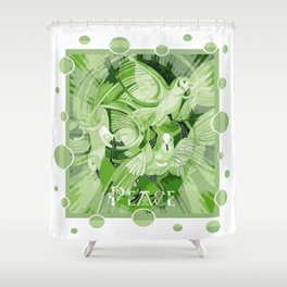 Dove With Celtic Peace Text In Green Tones Shower Curtain