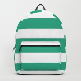 Jungle green - solid color - white stripes pattern Backpack
