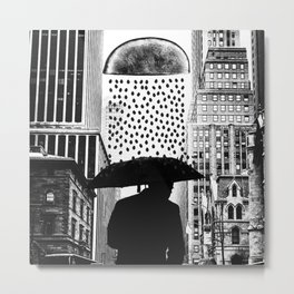 The rainy day - black and white version Metal Print