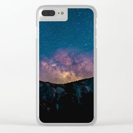 Blue Purple Star Galaxy Mountains Clear iPhone Case