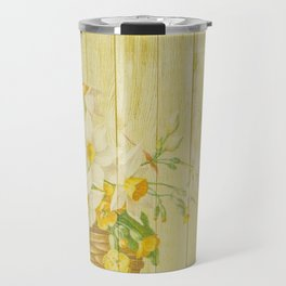 Daffodil Flowers in Basket on Wood Background Travel Mug