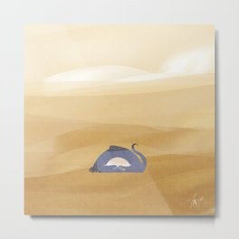 little dragon is sleeping in the sand illustration Metal Print