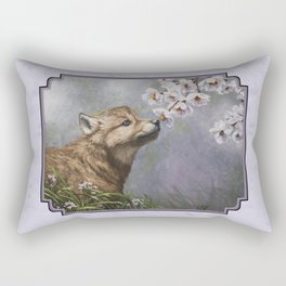 Wolf Pup and Spring Blossoms Rectangular Pillow