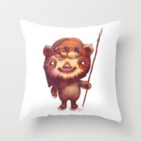 ewok Throw Pillows featuring Wicket the ewok by Nathalie Vessillier