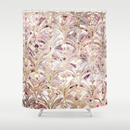 Dusty Rose and Coral Art Deco Marbling Pattern Shower Curtain