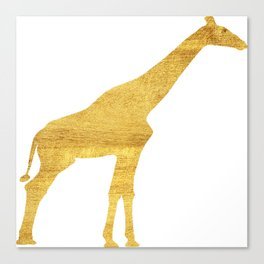 Giraffe Silhouette in Gold Canvas Print
