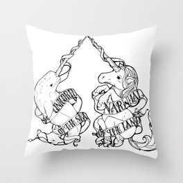 Unicorn of the Sea/Narwhal of the Land Throw Pillow