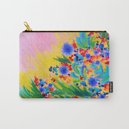 NATURAL ROMANCE in PINK - October Floral Garden Sweet Feminine Colorful Rainbow Flowers Painting Carry-All Pouch