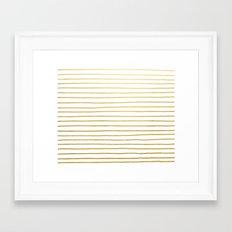 Gold Paris Stripe Pattern Framed Art Print