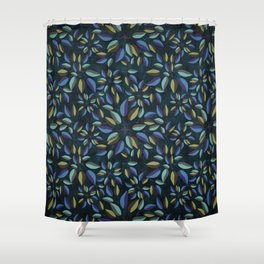 Duo-Toned Leaf pattern 1 (Purple/Gold) Shower Curtain