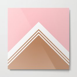 Geometric design in pink and brown Metal Print