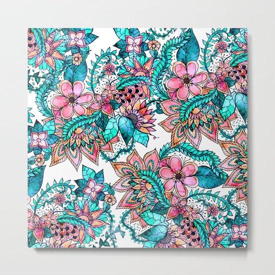Boho turquoise pink floral watercolor illustration Metal Print