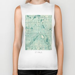 St Paul Map Blue Vintage Biker Tank