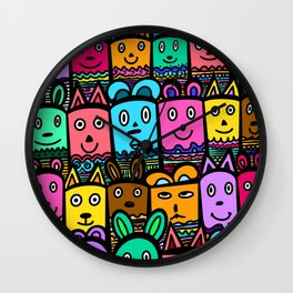 colorful doodles Wall Clock