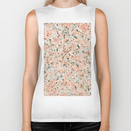Coral black white elegant abstract marble Biker Tank