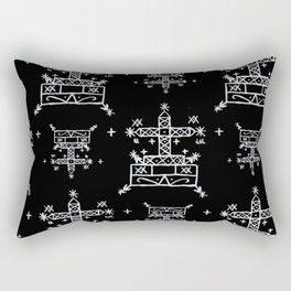 Baron Samedi Voodoo Veve Symbols in Black Rectangular Pillow