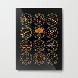 Aircraft Flight Instruments - Full Black Metal Print