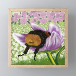 Bee Butt In A Purple Tulip Framed Mini Art Print