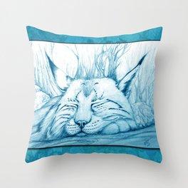 Bobcat nap Throw Pillow