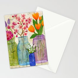 Springs Flowers in Old Jars Stationery Cards