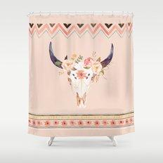 Bull Head Skull Boho Flowers Shower Curtain