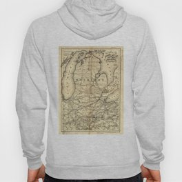 Vintage Michigan, Ohio and Indiana Railroad Map Hoody