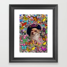 Chi Chi in Yellow, Orange, Red Rainbow Butterflies, Chihuahua Puppy Dog Framed Art Print