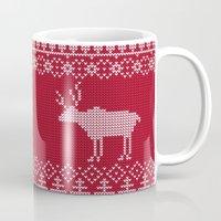 reindeer Mugs featuring  Reindeer by Julia Badeeva