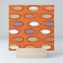 Mid Century Modern Ovals Scribbles Orange Mini Art Print