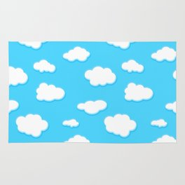 sky of blue and fluffly white clouds Rug