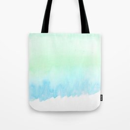 Hand painted turquoise teal blue watercolor ombre brushstrokes Tote Bag